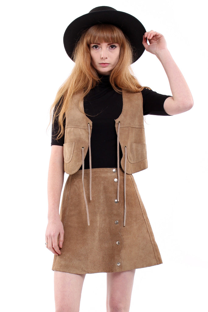 Vintage 70s Sand Suede Vest & Mini Skirt Set