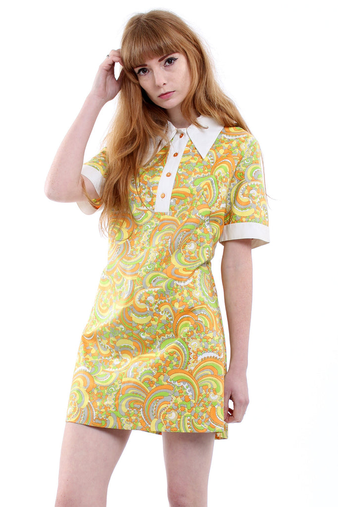 Vintage 60s Orange Psychedelic Mod Mini Dress