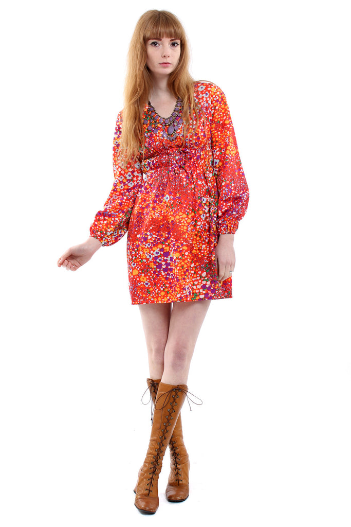 Vintage 60s Red Psychedelic Mini Dress