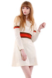 Vintage 70s Cream Stripe Mini Dress