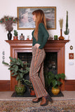 Vintage 90s Stripe Corduroy Lace Up Kick Flare Trousers