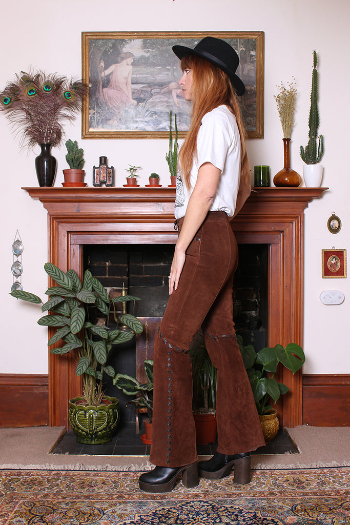Vintage 90s Chestnut Suede Lace Up Kick Flare Trousers