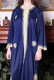 Vintage 70s Navy Blue Embroidered Ethnic Kaftan