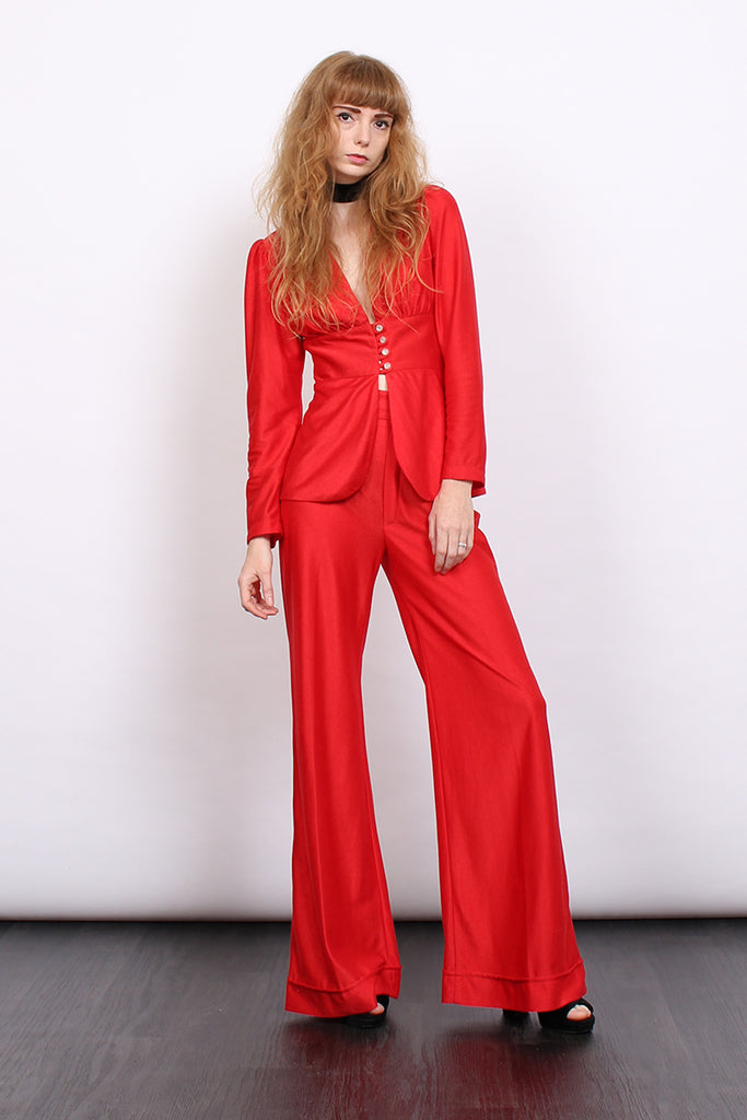 Vintage 70s Red Flared Trouser Skirt Three Piece Suit