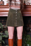 Vintage 70s Moss Green Suede Snap Front Mini Skirt