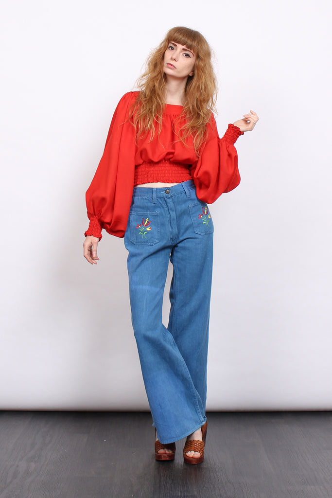 Vintage 70s Red Balloon Sleeve Cropped Gypsy Blouse