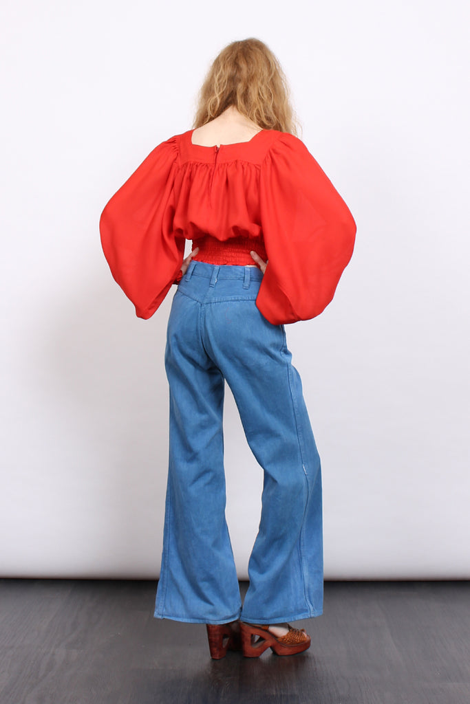 Vintage 70s Embroidered High Waisted Flared Denim Jeans