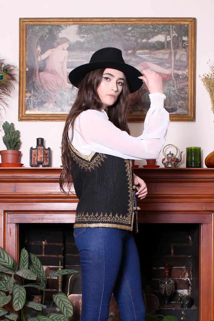 Vintage 60s Black Gold Embroidered Embossed Boho Vest