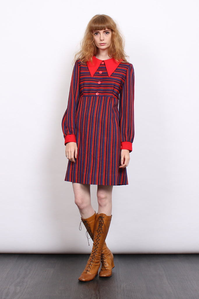 Vintage 60s Red Stripe Collar Mod Mini Dress