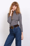 Vintage 70s Red & Blue Stripe Turtleneck Top