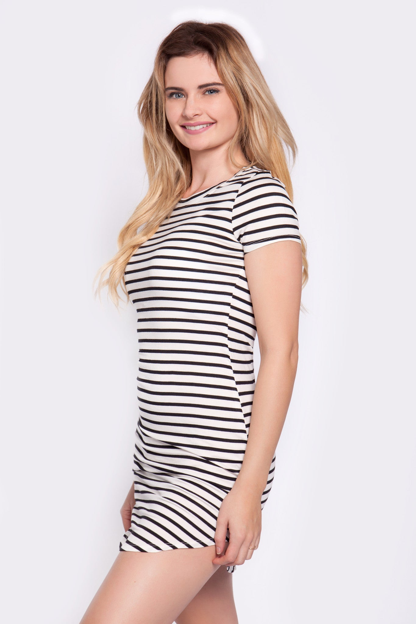 Striped T-Shirt Dress in Black & White - Shop Ulala