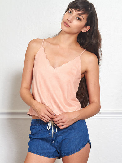 d01d6c033eb8f Scalloped Faux Suede Tank in Peach - Shop Ulala
