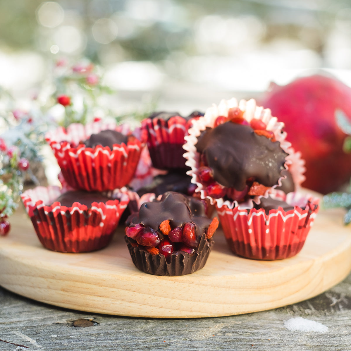 3-Ingredient Festive Goji Pomegranate Chocolate Bites