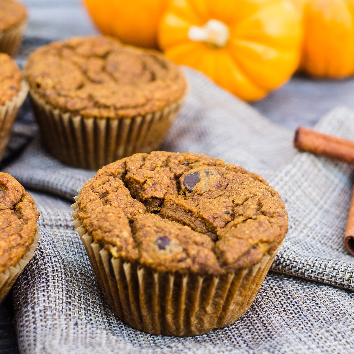 Maca Chocolate Chip Pumpkin Muffins