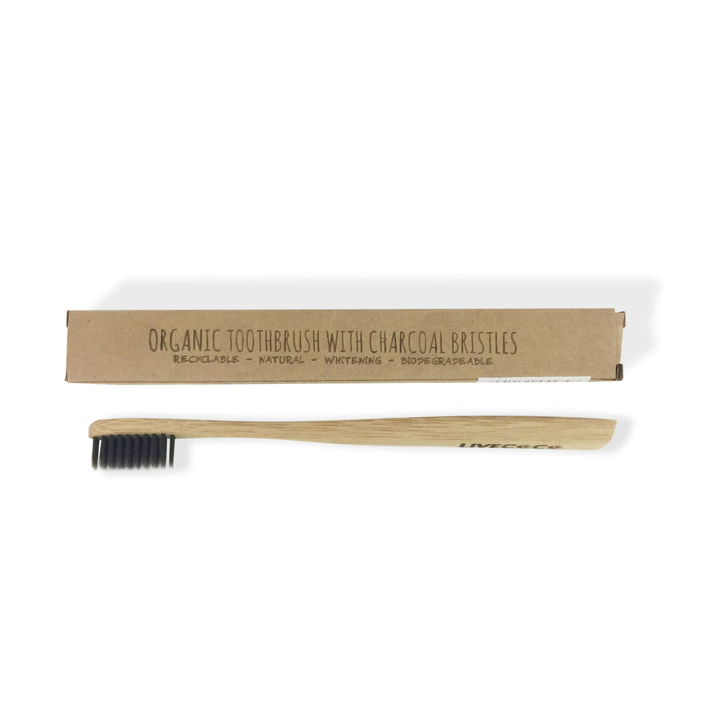 Organic Toothbrush with Charcoal Fibre Bristles - LiveCoco