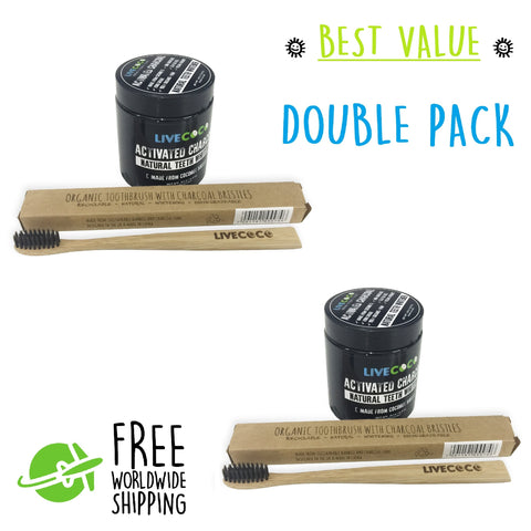 DOUBLE PACK - Activated Charcoal Powder & Natural Toothbrush Kit