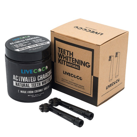 Activated Charcoal Powder & Electric Toothbrush Heads With Charcoal Fibre - LiveCoco