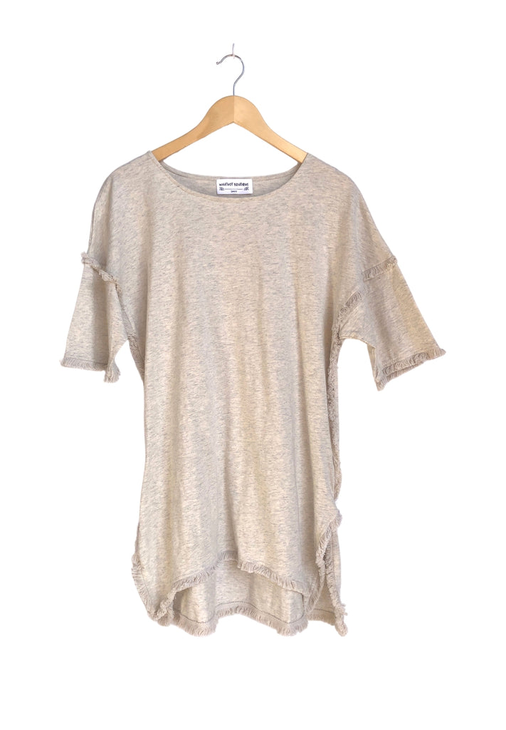 Classy High-Low Tunic with Fringed Hems