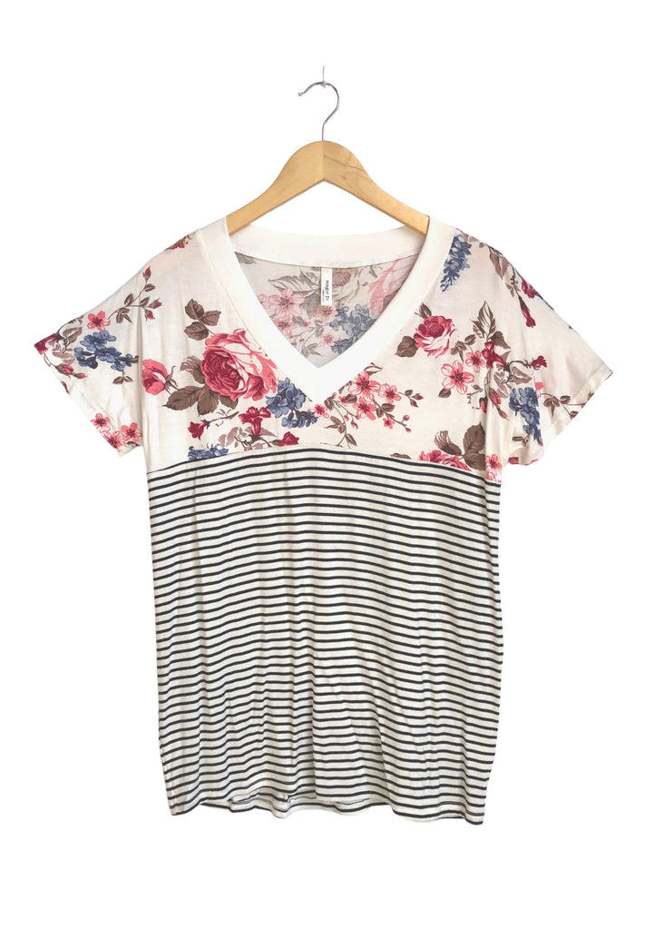 Everyday Casual Stripe Flower Top