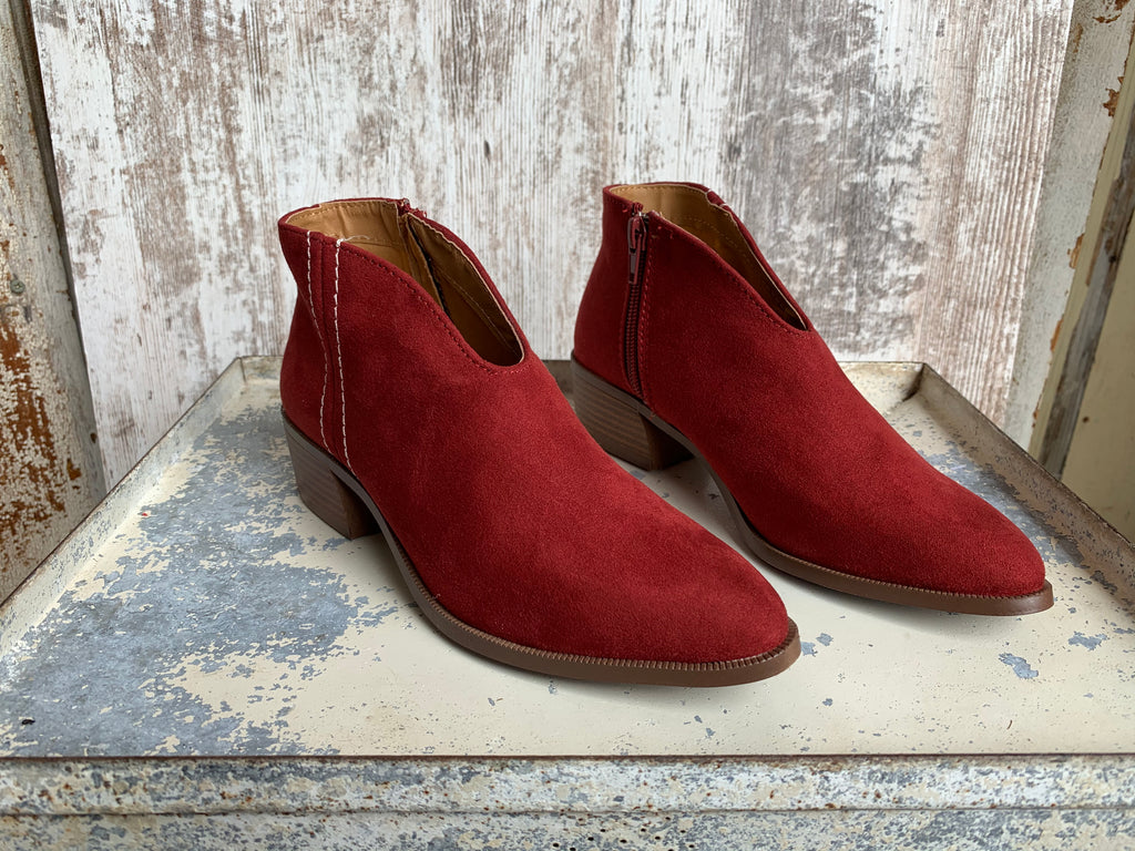 Red Suede Bootie Shoes