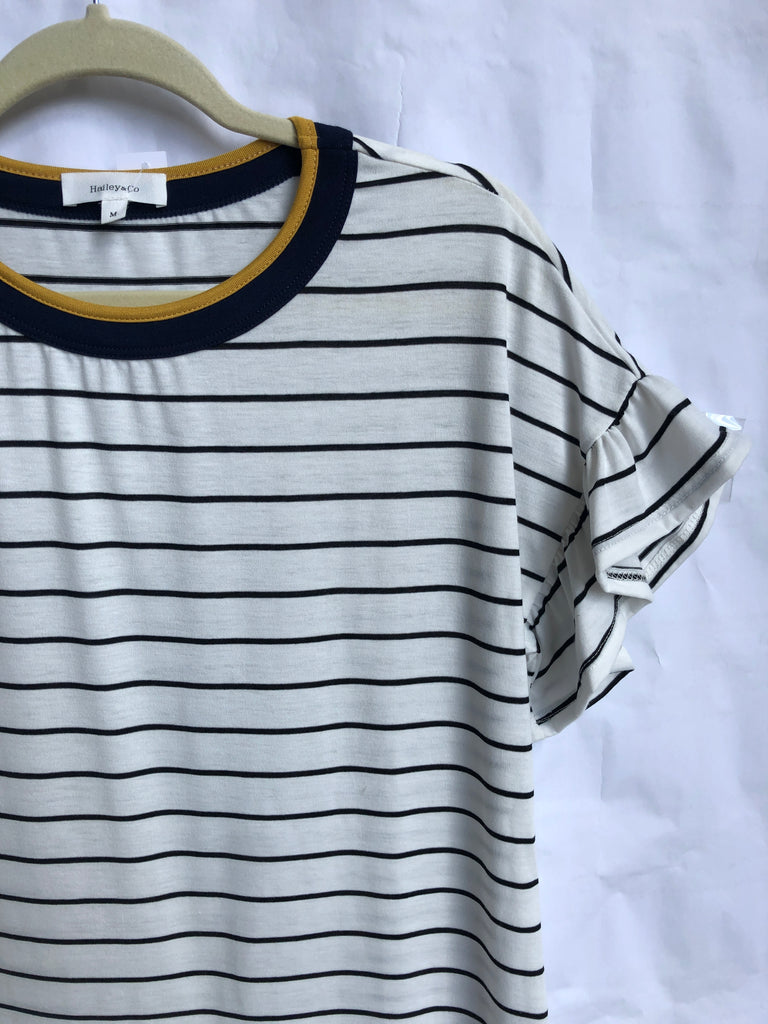 Blue and Yellow Nautical Retro Top