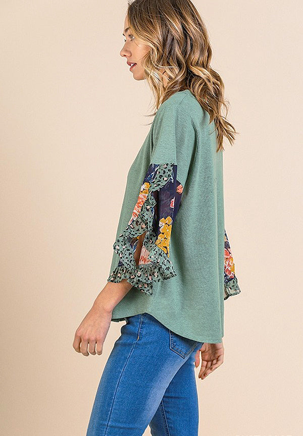 Floral Print Split Ruffle Sleeve Top