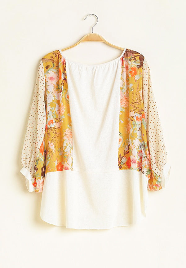 Polka Dot and Floral Print Sleeve Round Neck Top