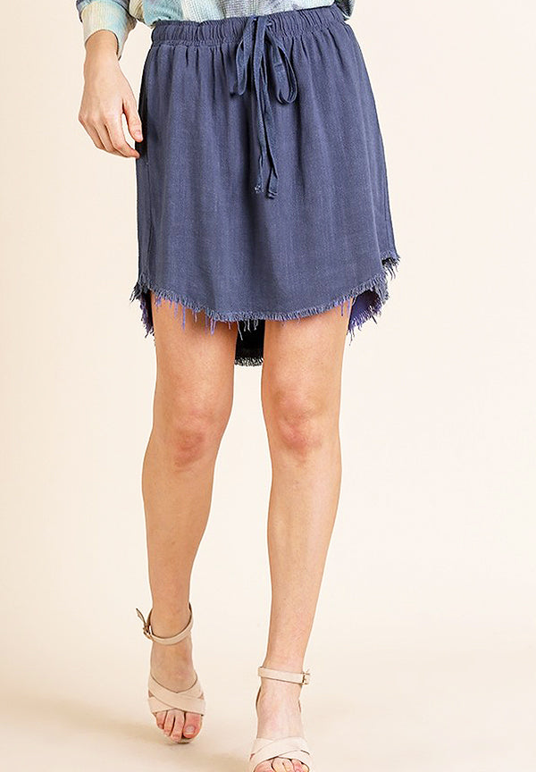 Indigo Frayed Skirt