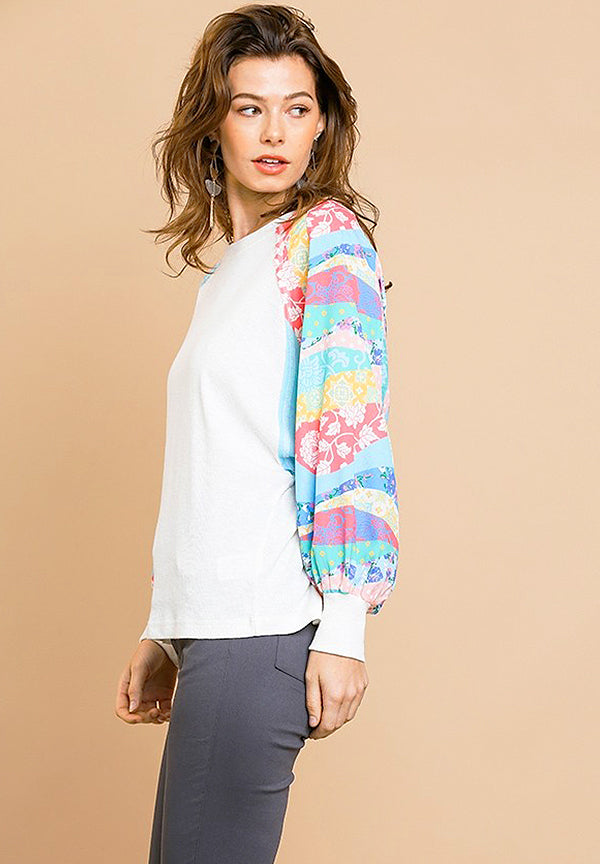 Floral Mixed Print Long Puff Sleeve