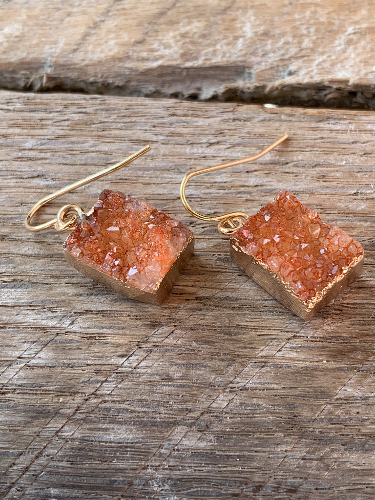 Amber Stone Drop Down Earring