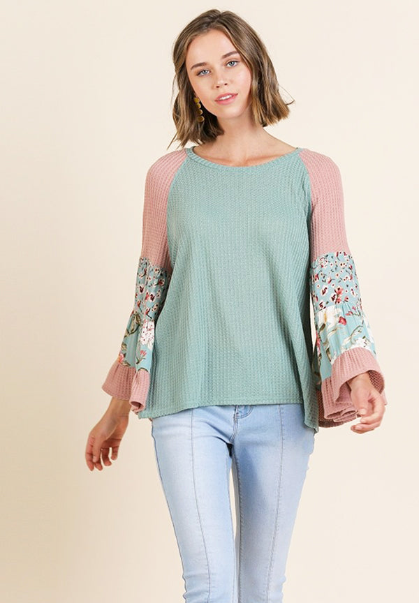 Floral Knit Waffle Bell Sleeve Top