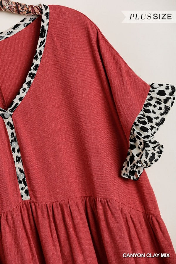 V Neck Dress with Babydoll Cut and Animal Print Trim
