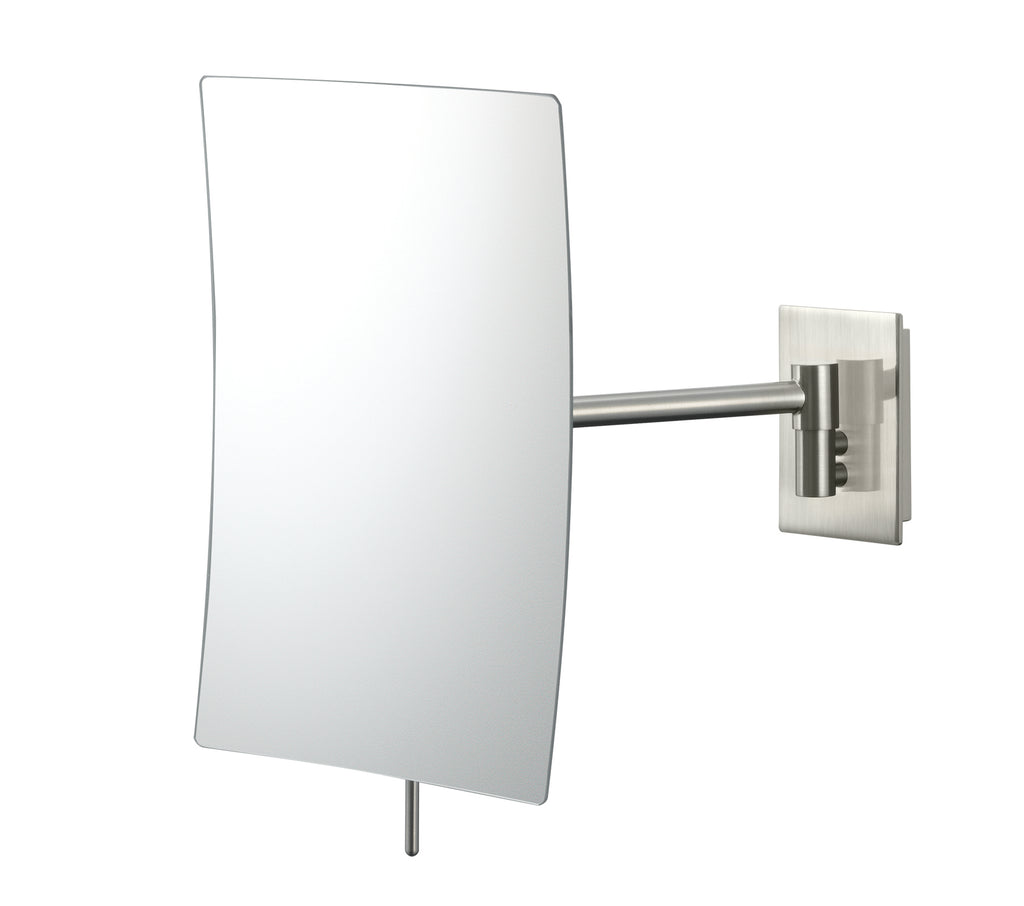 Minimalist rectangular 3X magnifying non-lighted wall mirror