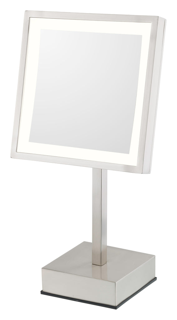 THE BRIE - Single-Sided LED Square Freestanding Mirror - Rechargeable