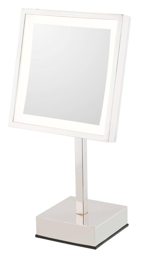 Square 3X magnifying LED lighted freestanding mirror with rechargeable battery
