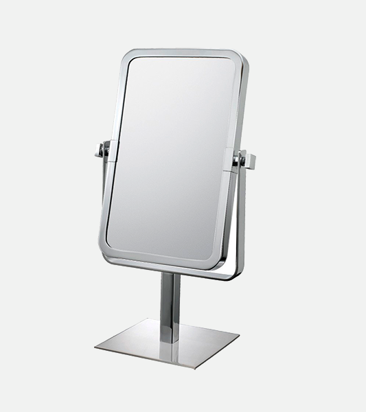 Rectangular double-sided 3X/1X freestanding magnifying makeup mirror