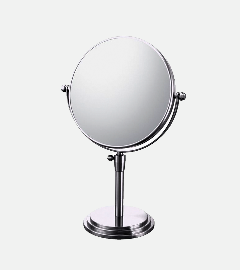 Adjustable round double-sided 5X/1X freestanding magnified makeup mirror