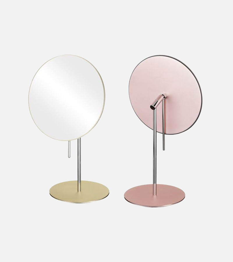 Round single-sided 3X magnifying non-lighted freestanding mirror