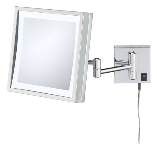 Square 3X magnifying LED lighted plug-in wall mirror