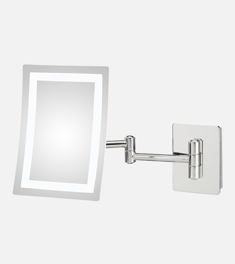 Square framed 3X LED lighted wall magnifying makeup mirror