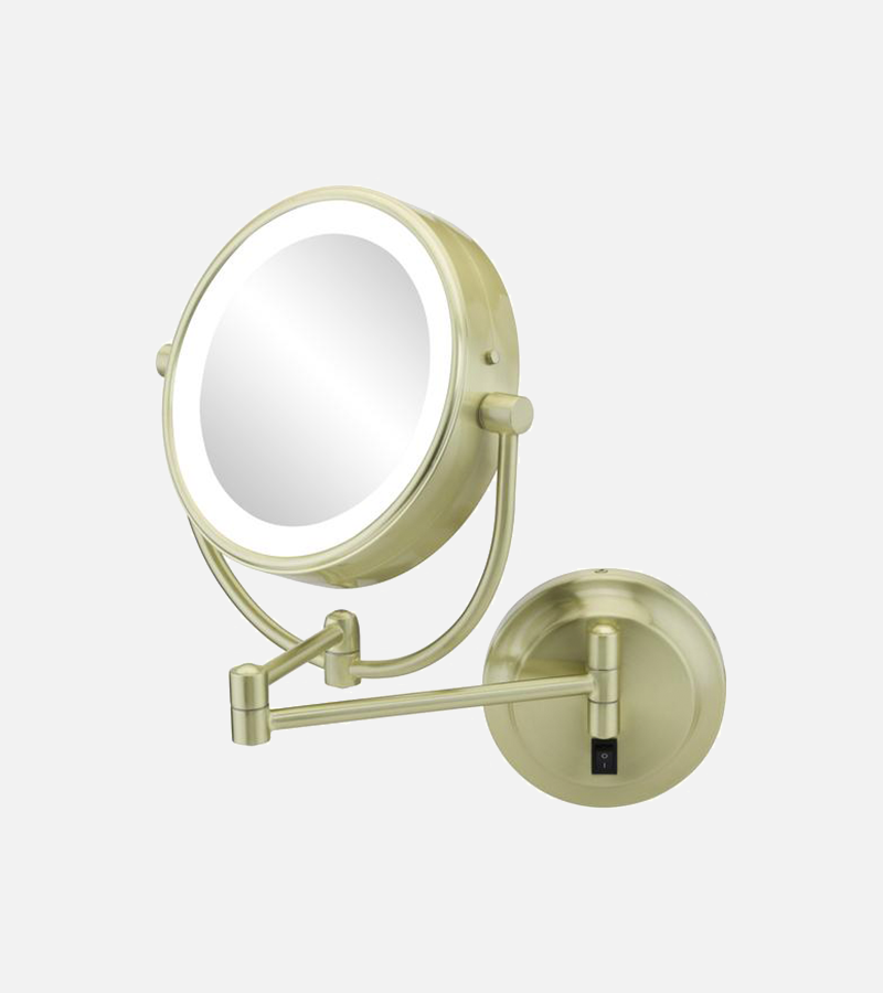 Round double-sided 5X/1X magnifying LED lighted mirror with switchable light color
