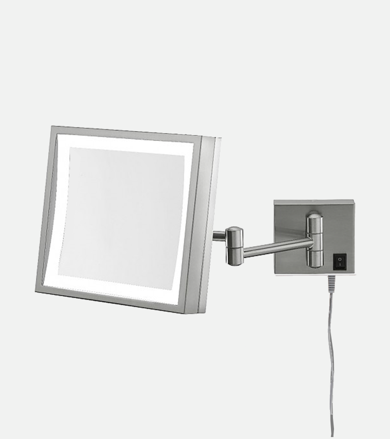 THE GRETA - LED Lighted 3x Magnified Square Single-Sided Arm Wall Mirror - Plugin