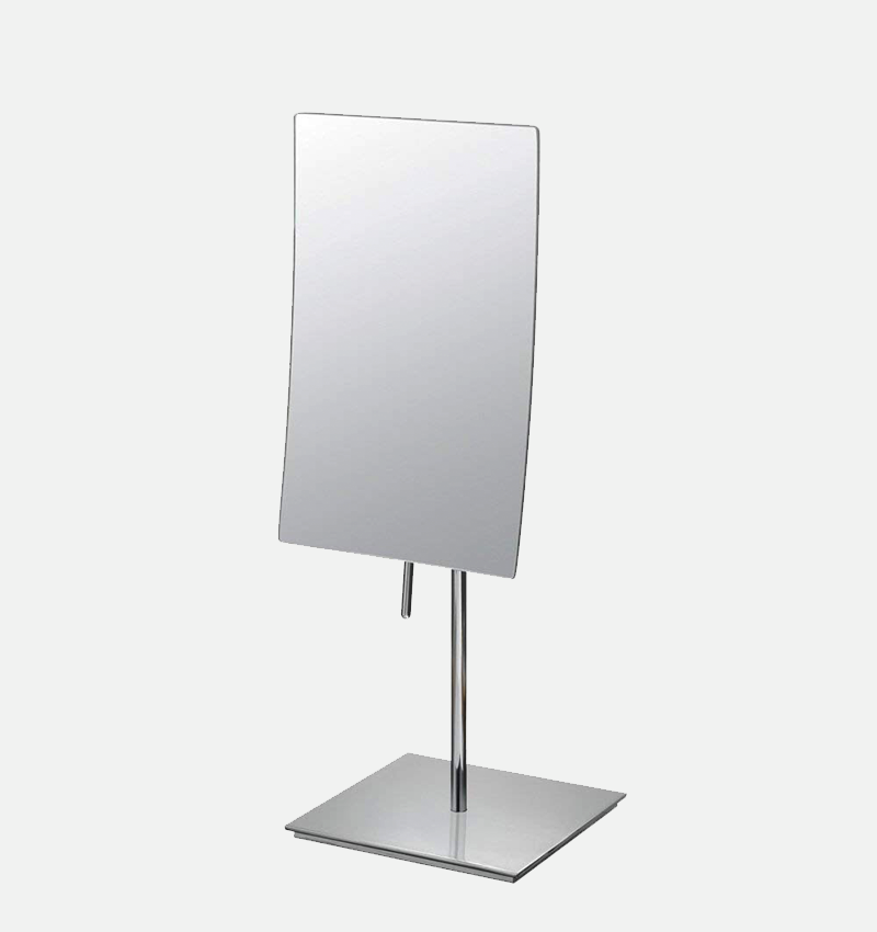 Rectangular 3X minimalist freestanding magnifying makeup mirror