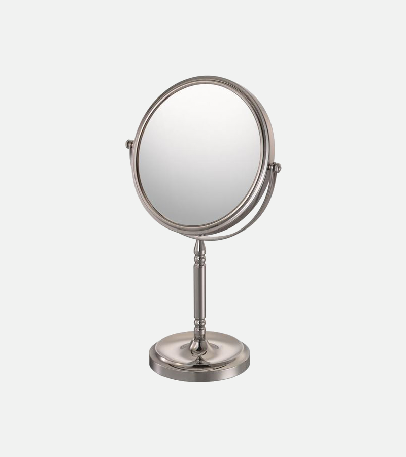 Round double-sided 5X/1X freestanding mirror with recessed base