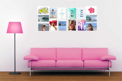 Blog Post 9 Creative Ways to Display Your Instant Art showing stock photos on wall with pink lounge and pink lamp accessories