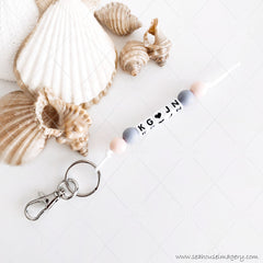 Key Ring With Initials and Love Heart