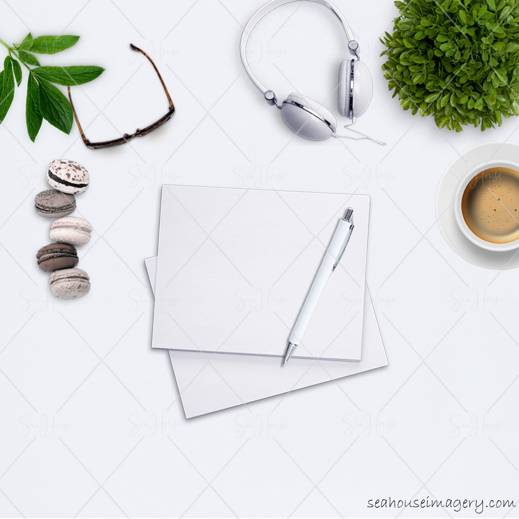 WM 6 Stock Photo Flatlay Styled Desktop Notepad Pen Green Coffee and Biscuits