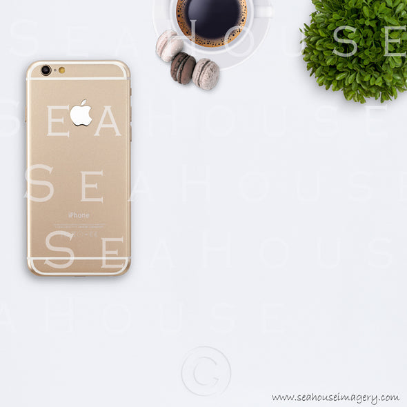 EXCLUSVIE USE 13 WM 13 Flatlay Phone Gold Back Left Side Expresso Coffee Smaller Macarons x3 Greenery Ball Square