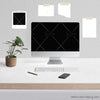 1 WM Working From Home Styled Desktop Photo Bundle  IMac Marble Desktop Cane Plant Phone Pen Wall Notes Square