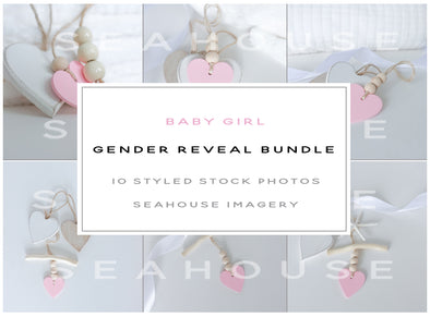 WM EXCLUSIVE USE Bundle Main Image - Baby Girl Announcement Gender Reveal Bundle